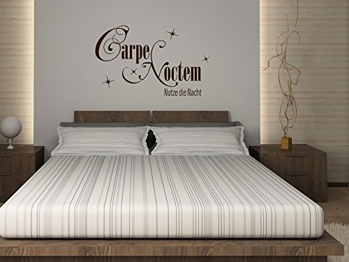 "Wall Sticker for Bedroom with Latin/German Phrase ""Carpe Noctem - Nutze die Nacht!"" (""Carpe Noctem - Seize the Night!""), light green, 65 x 40 cm"