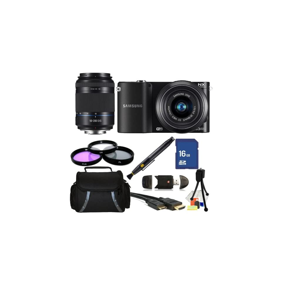 Samsung NX1000 Mirrorless Wi Fi Digital Camera (Black) with 20 50mm & 50 200mm Dual Lens kit. 3 Piece Filter Kit (UV CPL FLD), 16GB Memory Card, High Speed Card Reader, Mini HDMI Cable, Carrying Case & More  Digital Camera Accessory Kits  Camera