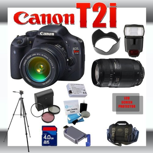 Canon EOS Rebel T2i 18 MP Digital SLR Camera with Canon 18-55mm and Tamron AF 75-300mm f/4.0-5.6 LD for Canon Digital SLR Cameras + 4GB Memory Card + Digital Flash + SD Memory Card Reader + Li-Ion Replacement Battery Pack + Deluxe Cleaning Kit + Carrying