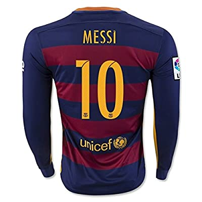 Barcelona Home Messi Kids #10 Soccer Kit Long Sleeve Jersey and Shorts All Youth Sizes