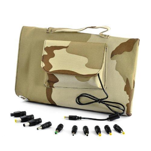 Solar Battery Charger - 30 Watt, Camouflage, 10X Laptop Adapters, Waterproof