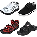 Bersache Men Combo Pack Of 4 Sports With Casual Shoes & Sandals