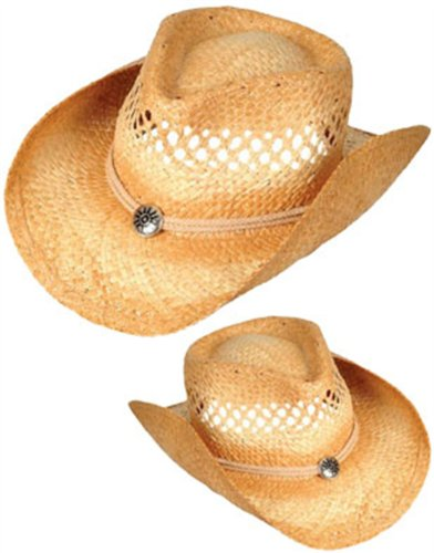 New Woven Cowboy Cowgirl Hat with Rope Band & Pendant - 1