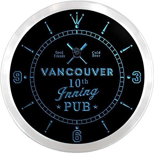 Ncpo2195-B Vancouver Baseball 10Th Inning Pub Beer Bar Led Neon Sign Wall Clock