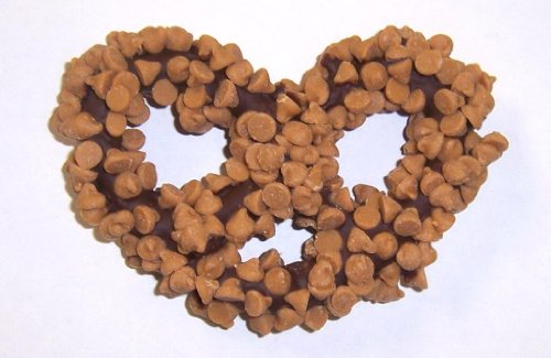 Scott's Cakes 1 lb. Dark Chocolate Covered Pretzels with Peanut Butter Chips in a Small Fruit Tin