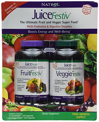 Natrol JuiceFestiv, 240 Capsules (120 FruitFestiv Capsules and 120 VeggieFestiv Capsules - made with organic fruits and vegetables)