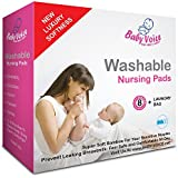 Washable Nursing Pads by BabyVoice: Luxury Soft and Soothing Bamboo for Your Sensitive Breast: 8 Pack of Reusable Bra Pads + Free Laundry Bag. Stop Leaking - Enjoy Breastfeeding!