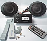 GSI Deluxe MP3/Radio/Speaker/Amplifier Package for Motorcycle/Motorbike/Scooter - Includes Pair of 3-Inch Waterproof Black Speakers + Quality MP3 Player USB/SD + Built in FM Radio + 2x15 Watts Amplifier + Mount Installation Tools