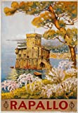 TV70 Vintage 1920's Rapallo Genoa Italy Italian Travel Poster Re-Print - A4 (297 x 210mm) 11.7