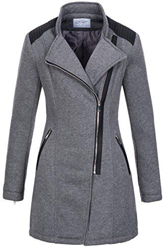 Woll-guaina   transizione giacca   cappotto corto da donna per da donna, 8985-rockiger V Trench in cotone Biker Style con applicazioni in similpelle Grau XL