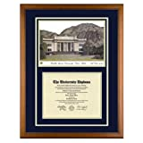 Brigham Young University Utah Diploma Frame with BYU Lithograph Art Print ~ Old School Diploma...