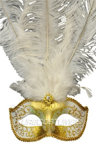 Winter Wonderland Venetian Mask (White/Gold)