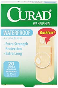 Curad Waterproof Strong Strip Self-Adhesive-Bandages, 1 Inch x 3 1/4 Inch, 20 Count (Pack of 6)