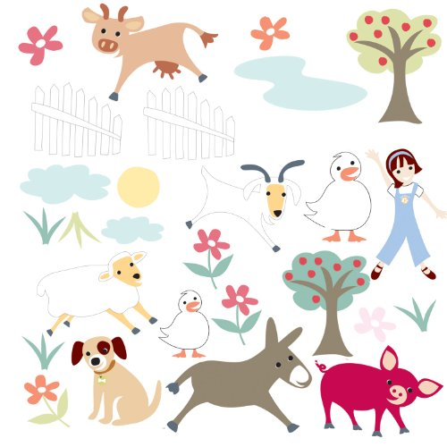 RoomMates RMK1128SCS Gem's Friends Farm Peel & Stick Wall Decals