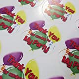 """35 x Balloon """"Thank you for coming to my Party"""" Sweet Cone Party Bag Stickers / Labels Round / Circular"""