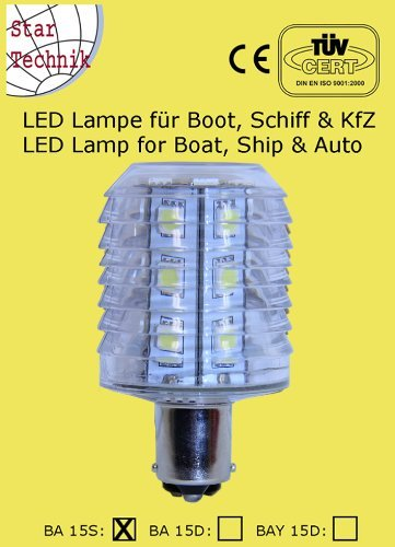 24 Smd Led Lamp Ip With Plastic Cover Ip65: Bulb With 24 Smd Leds Ba15S White 1.9W For Marine Navigation Lights Of Boat Ship Yacht For Port Starboard Masthead Lights -Made For Socket Ba-15S 12V - 24V