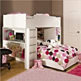 South Shore Logik L-Shaped Twin over Twin Wood Loft Bunk Bed in Pure White  ....
