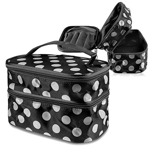 Zodaca Portable Cosmetic Bag Toiletry Travel Kit Organizer with Handle/ 2 Layer Storage for Makeup Brushes & More, Black/White Dot (Face Scrubber Sephora compare prices)