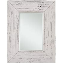 Rectangular Beveled Wall Mirror in Distressed White Finish