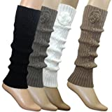 Hand Crochet Flower Fashion Ribbed Knit Soft Acrylic Leg Warmer