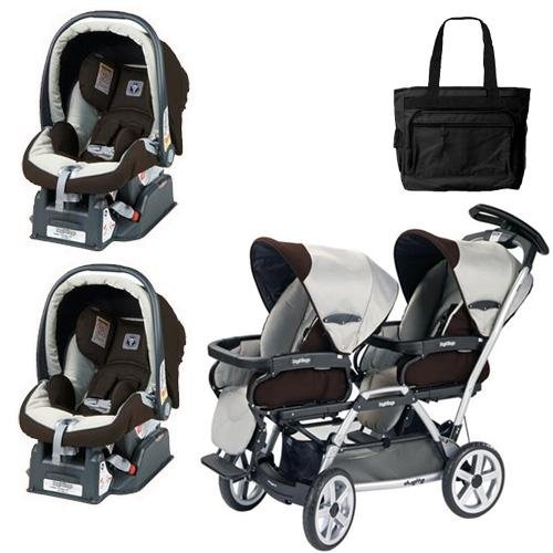 Peg Perego Duette SW Stroller with two Car Seats and a Diaper Bag - Java