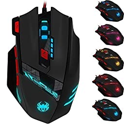 [2016 New Version] Zelotes T90 Professional 9200 DPI High Precision USB Wired Gaming Mouse,8 Buttons,With 7 kinds modes of LED Colorful Breathing Light, Weight Tuning Set (Black)
