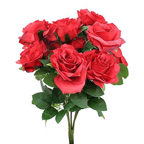 Topix Premium artificial flower Romantic Rose 10 Big Heads Bounquet (Red)