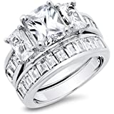 Sterling Silver Radiant Cut Cubic Zirconia Women's Wedding Engagement Ring Set