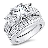 Sterling Silver Radiant Cut Cubic Zirconia Womens Wedding Engagement Ring Set