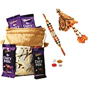 Cadbury Dairy Milk & Skylofts Chocolates Gift Pouch ( 8pcs) With Rakhi, Lumba & Teeka Combo