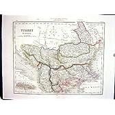 大学旧式な地図C1875 ArcherトルコヨーロッパCandiaマケドニアServia Bukarest