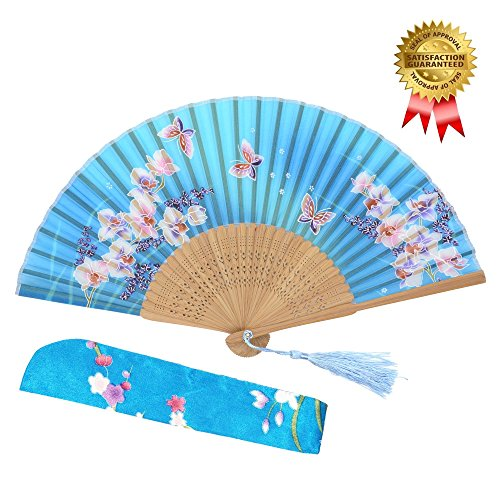 OMyTea® Hand Held Silk Folding Fans with Bamboo Frame - With a Fabric Sleeve for Protection for Gifts - 100% Handmade Oriental Chinese / Japanese Vintage Retro Style - For Women Ladys Girls (WZS-33) (Fan Folding compare prices)