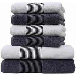 Liness-Stripes 6 tlg Handtuch-Set 4 Handtücher 50x100 cm 2 Duschtücher Badetücher 70x140 cm Handtuch Duschtuch Badetuch grau-anthrazit weiß 100% Baumwolle Frottee
