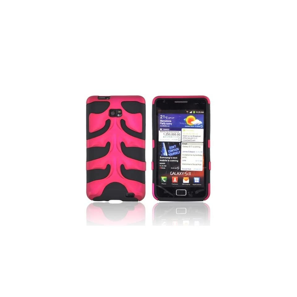 For AT&T Samsung Galaxy S2 Rose Pink Black OEM Nex Dual Layer Hard Fishbone Silicone Case Cover Screen Protector SAMI777FB05