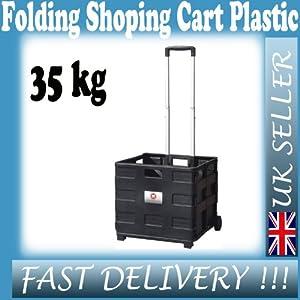Folding Shopping Cart Plastic Trolley Extending & Carry Handles - Boot Tidy 35kg
