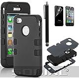 SODIAL(R) Funda Hibrida Negra de Alto Impacto Silicona Negra para iPhone 4 4S con Protector de Pantalla y Lapiz Tactil
