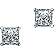 Anmao 10mm Platinum Plated Swarovski Elements Wedding Engagement Square Cubic Zirconia Stud Earrings for Women Men Fashion Jewelry with a Gift Box 1C01