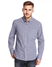 2in Longer Pure Cotton Easy Care™ Mini Checked Shirt