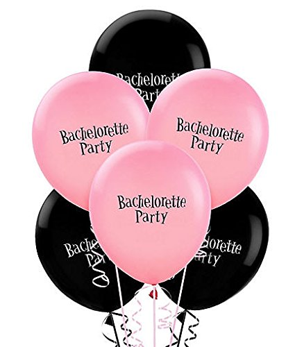 "Amscan Bachelorette Printed Latex Balloons Party Supplies (6 Piece), 11"", Pink/ Black"