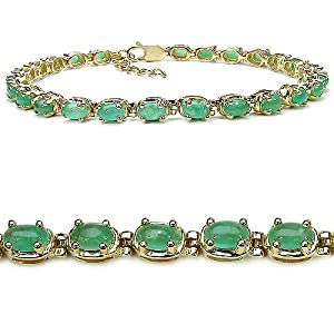 8.80 Carat Genuine Emerald 14K Gold Plated Sterling Silver Bracelet