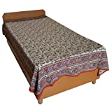 Block Printed Floral Bagru Print Design Cotton Flat Single Bed Sheet - B00GSSPD3M