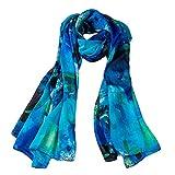 Ecowonder Women's Functional Long 100% Premium Silk Scarf Lotus Floral Printing