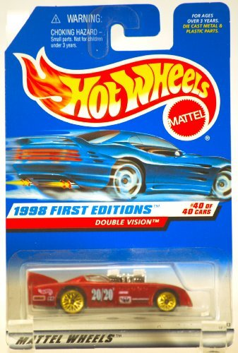 1998 - Mattel / Hot Wheels - Double Vision - Red Metallic - 20/20 Racing Decals - 1998 First Editions #40 of 40 Cars - 1:64 Scale - Die Cast Metal - Out of Production - Collectible - 1