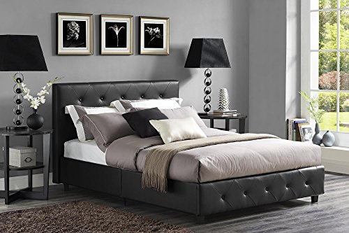 Great Deal! DHP Dakota Faux Leather Upholstered Platform Bed, Queen, Black