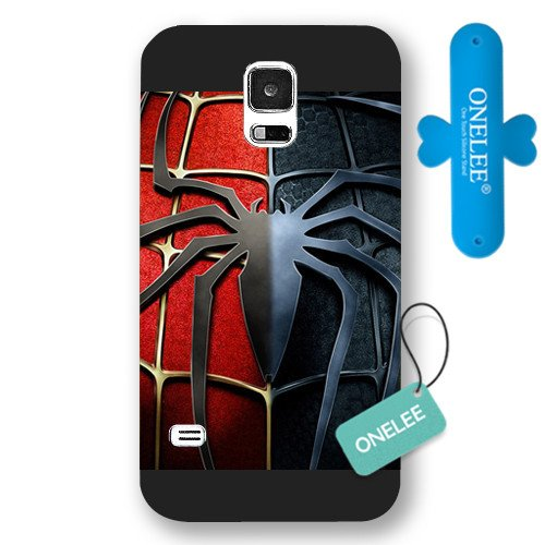 Onelee Customized Marvel Series Case for Samsung Galaxy S5, Marvel Comic Hero Spider Man Logo Samsung Galaxy S5 Case, Only Fit for Samsung Galaxy S5 (Black Frosted Case)