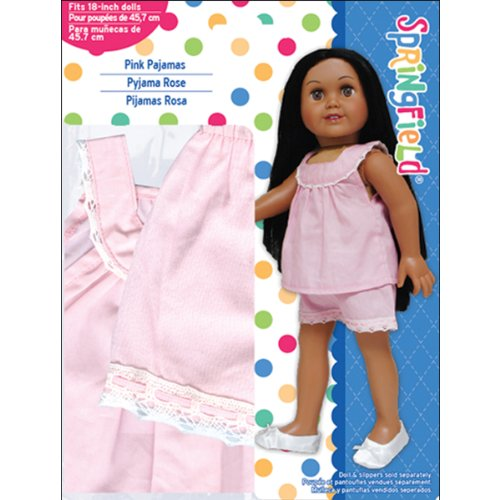 Springfield Collection by Fibre-Craft - Pink Pajamas with White Lace Trim - Fits All 18-Inch Dolls - Mix and Match! - For Ages 4 and Up