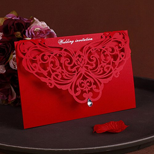WOMHOPE® 50 Pcs - Classic Red Color Laser Cut Lace Card Wedding Invitation Party Folding Invitations Cards Birthday Invitations Cards Wedding Favors with Acrylic Rhinestone (A)