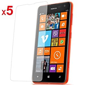 5 in 1 (Pack of 5) LCD Screen Protector/ Cover/ Guard /Film Includes Cleaning Cloth For Nokia Lumia 625