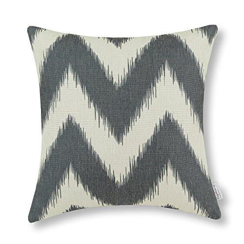 Euphoria CaliTime Home Decor Throw Pillow Cover Cotton Linen Blend Fantasy Ikat Zigzag 18 X 18 Inches Dark Gray