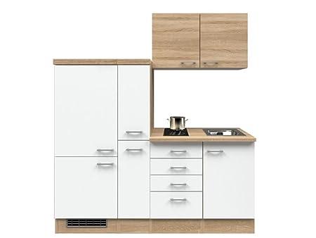Singlekuche 190 cm Weiß Sonoma Eiche mit Demi Apothekerschrank & Glaskeramikkochfeld - Salerno